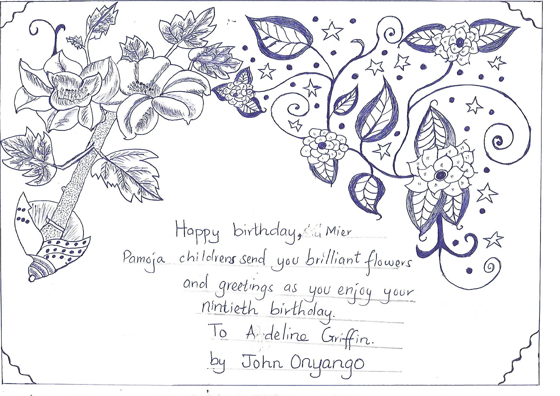 Today Is Adeline Griffins 90th Birthday The Picture Above Was Drawn By One Of Pamojas Sponsored Children In Magina John Onyango Its Amazing